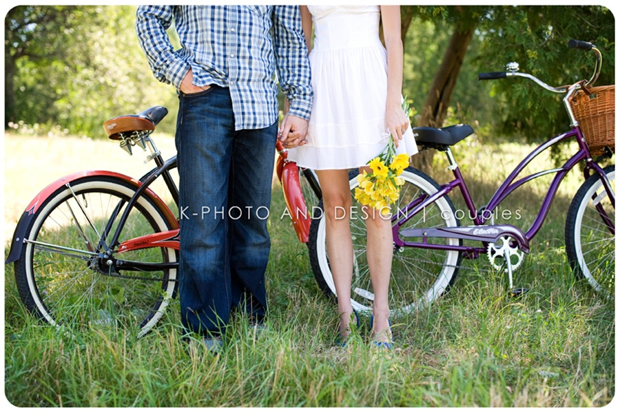 bride and groom with bikes