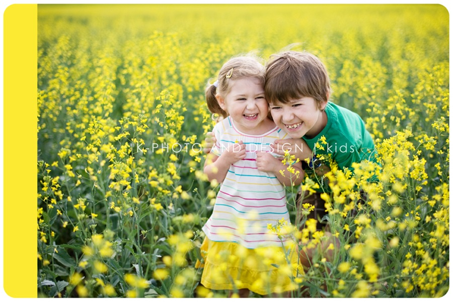 kids in canola field
